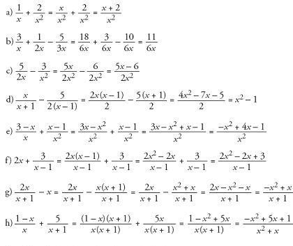 solución ejercicios fracciones algebraicas