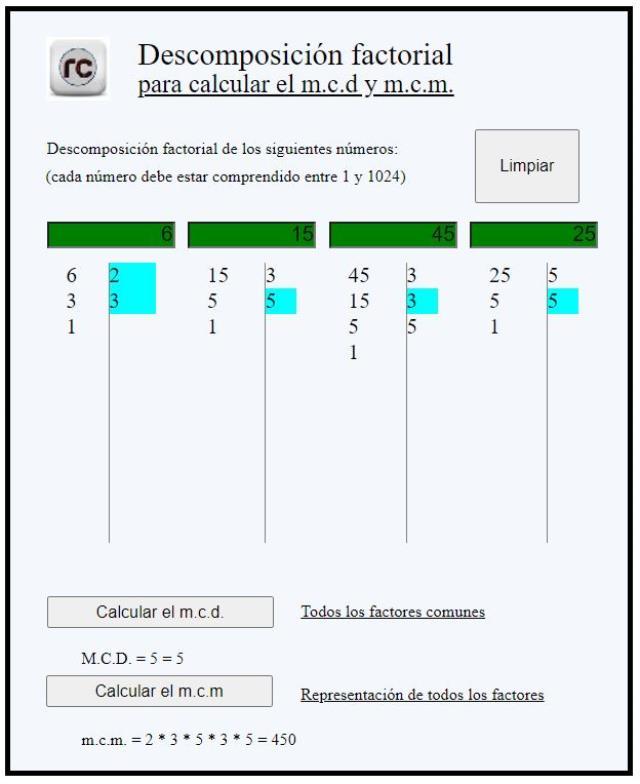 Descomposición factorial online