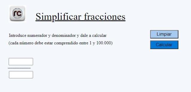Utilidad online para simplificar fracciones